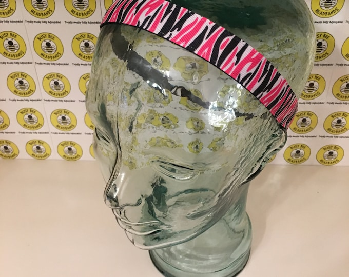 """Free Shipping! PINK and BLACK ZEBRA  (7/8"""" width) Adjustable Nonslip Headband / Busy Bee Headbands / Fits 2 yrs to Adult / Athletic"""