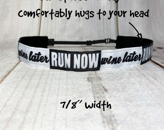 "7/8"" RUN Now WINE LATER Headband /  Running Runners Headband / Adjustable Nonslip Headband / Button Headband Option by Busy Bee Headbands"