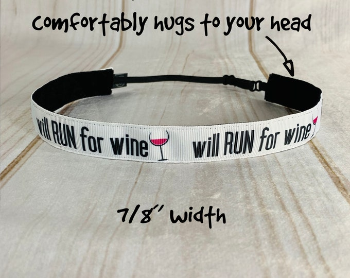 "7/8"" WILL RUN for WINE Headband /  Running Runners Headband / Adjustable Nonslip Headband / Button Headband Option by Busy Bee Headbands"