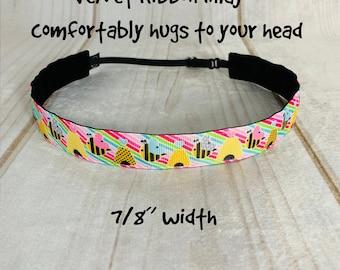 """7/8"""" BEE Headband / Running Headband / Gift for Bee Keeper / Adjustable Nonslip Headband / Button Headband Option by Busy Bee Headbands"""