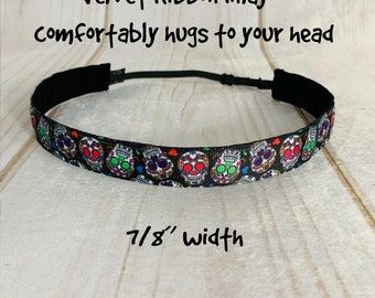 "7/8"" SUGAR SKULLS Headband / Workout Headband / Fitness Adjustable Nonslip Headband / Button Headband Option by Busy Bee Headbands"