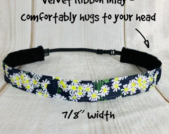 "7/8"" NAVY DAISY DAISIES Lilly Inspired Floral Headband / Adjustable Nonslip Headband / Button Headband Option by Busy Bee Headbands"