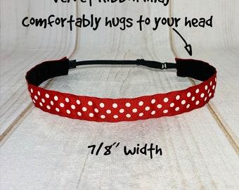 "7/8"" RED POLKA DOTS Headband / Adjustable Nonslip Headband / Running Fitness Workout / Button Headband Option by Busy Bee Headbands"