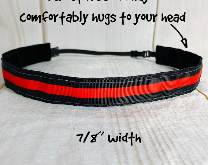 """7/8"""" THIN RED LINE Headband / Gift for Fire Fighter / Workout Fitness / Adjustable Nonslip Headband / Button Headband Option by Busy Bee"""
