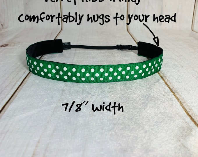 "7/8"" GREEN POLKA DOT Headband / Adjustable Nonslip Headband / Button Headband Option by Busy Bee Headbands"