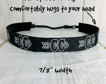 "7/8"" CROSS COUNTRY Headband / Running Fitness / Adjustable Nonslip Headband / Button Headband Option by Busy Bee Headbands"