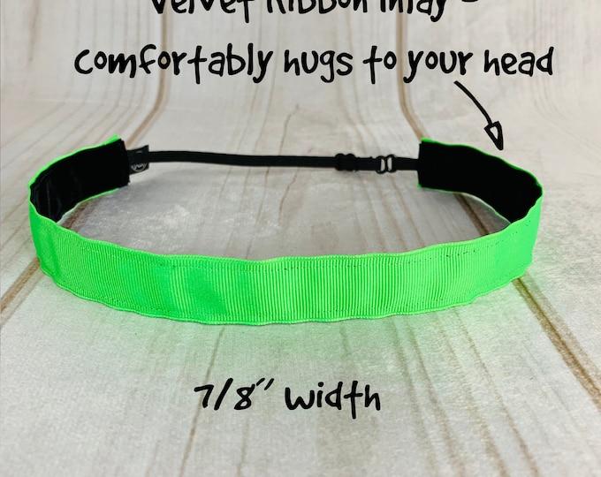 "7/8"" NEON GREEN Headband / Fitness Workout Running Headband / Adjustable Nonslip Headband / Button Headband Option by Busy Bee Headbands"