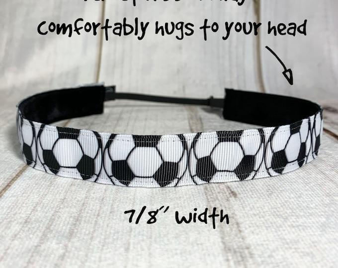 "7/8"" SOCCER Headband / Gift for Soccer Player / Soccer Player / Adjustable Nonslip Headband / Button Headband Option by Busy Bee Headbands"