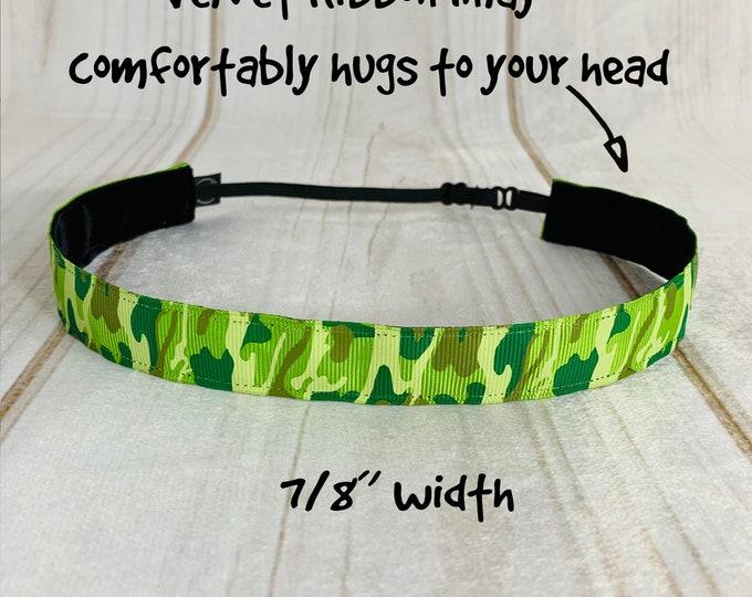"""7/8"""" GREEN CAMO Headband / Adjustable Camouflage Headband / Army Headband / Button Headband Option by Busy Bee Headbands"""