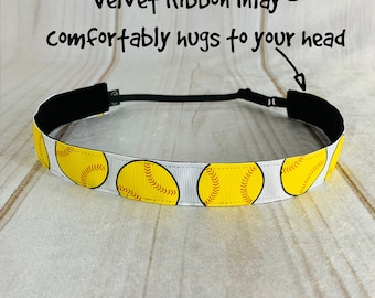 "7/8"" SOFTBALL Headband / Gift for Softball Player / Adjustable Nonslip Headband / Button Headband Option by Busy Bee Headbands"
