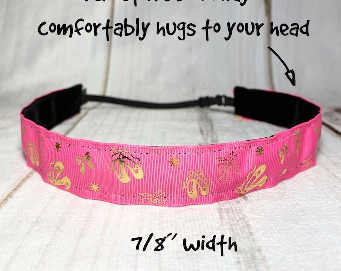 "7/8"" BALLET Headband / BALLERINA Headband / Adjustable Nonslip Headband / Button Headband Option by Busy Bee Headbands"