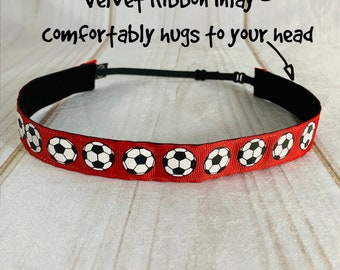 "7/8"" RED SOCCER Headband / Gift for Soccer Player / Adjustable Nonslip Headband / Button Headband Option by Busy Bee Headbands"