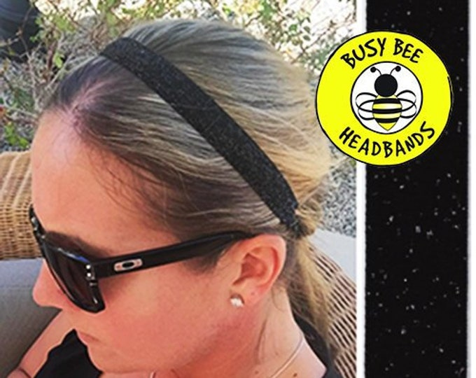 """Free Shipping! BLACK Sparkle  (5/8"""" width) Adjustable Nonslip Headband / Busy Bee Headbands / Fits 2 yrs to Adult / Athletic"""