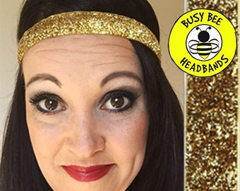 "Free Shipping! GOLD SPARKLE  (5/8"" width) Busy Bee Headbands Adjustable Non-Slip Headband for Women and Girls Athletic busybeeheadbands.com"
