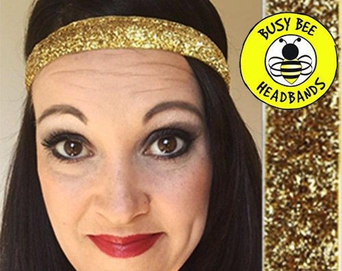 """Free Shipping! GOLD SPARKLE  (5/8"""" width) Adjustable Nonslip Headband / Busy Bee Headbands / Fits 2 yrs to Adult / Athletic"""