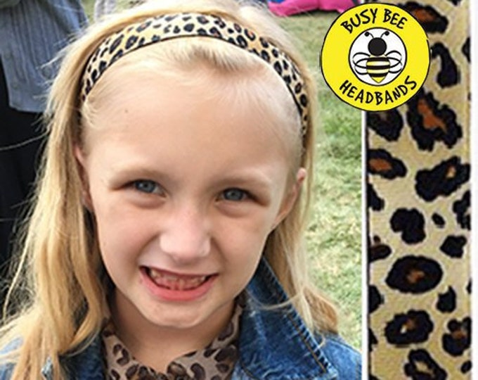 """Free Shipping! LEOPARD CHEETAH Animal Print  (7/8"""" width) Adjustable Nonslip Headband / Busy Bee Headbands / Fits 2 yrs to Adult / Athletic"""