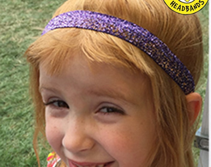 """Free Shipping! PURPLE SPARKLE  (3/8"""" & 5/8"""" widths) Adjustable Nonslip Headband / Busy Bee Headbands / Fits 2 yrs to Adult / Athletic"""