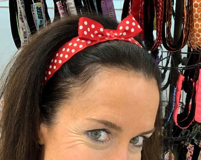 """Free Shipping! Disney MINNIE MOUSE Red/White DOTS (1"""" width) Busy Bee Headbands Adjustable Non-Slip Headband for Women and Girls Athletic"""