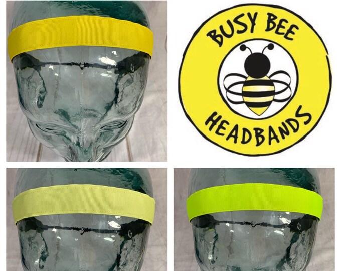 """Button Headband for Mask 7/8"""" SOLID YELLOW Headband / Light Yellow Headband / Neon Yellow Headband / Nonslip Headband / Busy Bee Headbands"""