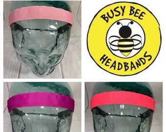"Button Headband for Mask 7/8"" SOLID PINK Headband /  / Nonslip Headband / Adjustable Headband / Workout Headband /"