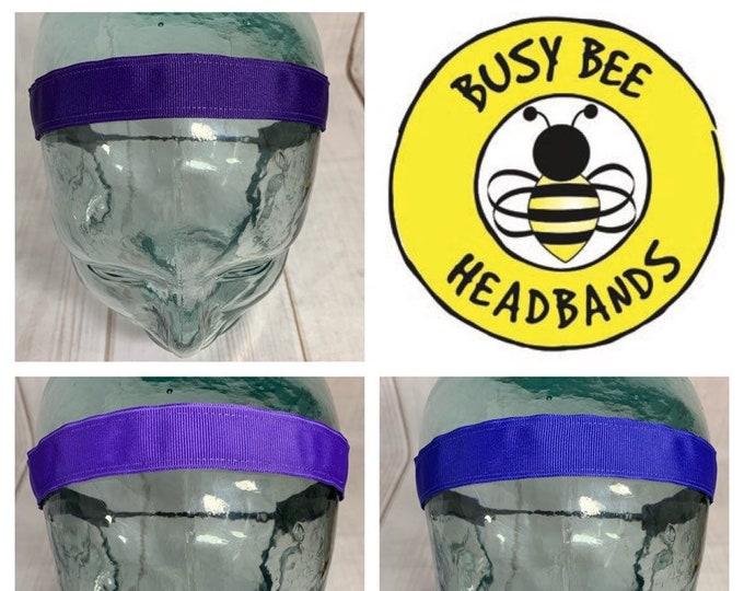 "Button Headband for Mask 7/8"" SOLID PURPLE Headbands /  / Light Purple Headband / Periwinkle / Adjustable Nonslip Headband /"
