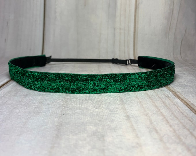 "5/8"" GREEN SPARKLE Headband / St. Patrick's Day Glitter Headband / Adjustable Nonslip Headband / Button Headband Option by Busy Bee"