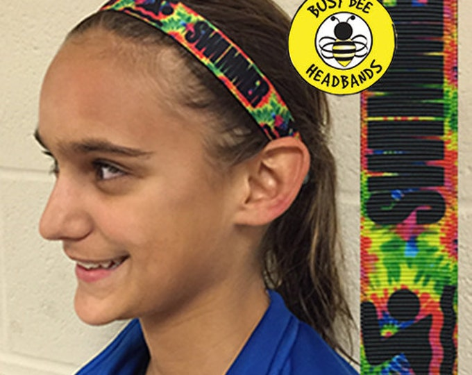 """Free Shipping! SWIMMER  (7/8"""" width) Busy Bee Headbands Adjustable Non-Slip Headband for Women and Girls Athletic busybeeheadbands.com"""