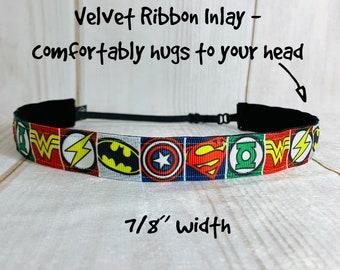 "7/8"" SUPER HERO Headband / Workout Fitness Running Headband / Adjustable Nonslip Headband / Button Headband Option by Busy Bee Headbands"