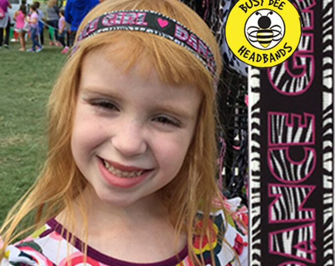 """Free Shipping! DANCE GIRL  (7/8"""" width) Adjustable Nonslip Headband / Busy Bee Headbands / Fits 2 yrs to Adult / Athletic"""
