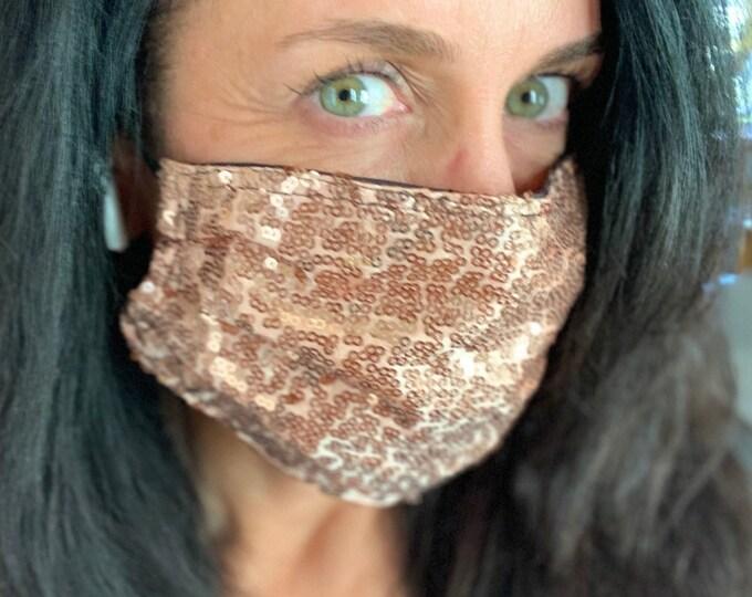 ROSE GOLD SEQUIN Mask /  Sparkle Mask / Party Mask / Face Mask / New Years Eve Mask / Themed Mask / Custom Mask