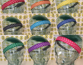 "Choose COLOR with WHITE DOTS  (7/8"" width) Adjustable Nonslip Headband / Busy Bee Headbands / Fits 2 yrs to Adult / Athletic"
