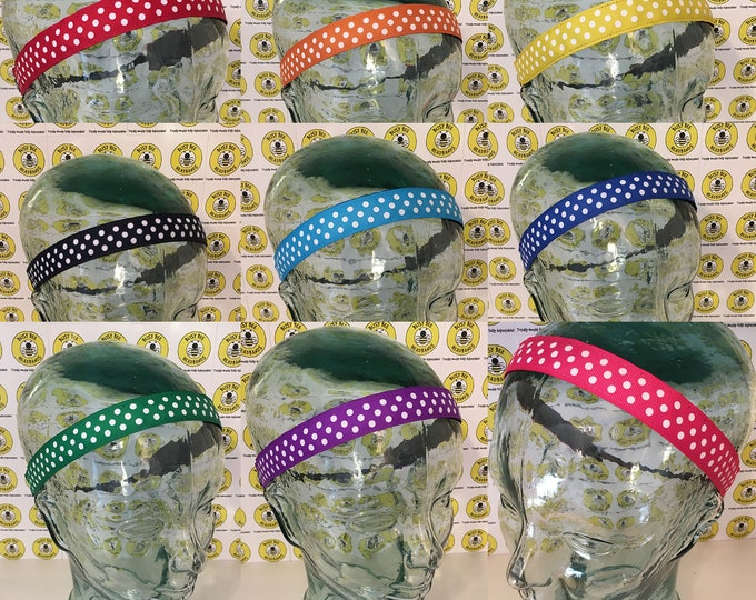 """Free Shipping! Choose COLOR with WHITE DOTS  (7/8"""" width) Adjustable Nonslip Headband / Busy Bee Headbands / Fits 2 yrs to Adult / Athletic"""
