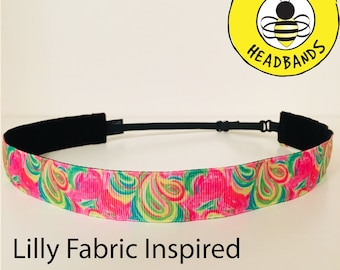 "Lilly Pulitzer Inspired FLAMINGO  (7/8"" width) Adjustable Nonslip Headband / Busy Bee Headbands / Fits 2 yrs to Adult / Athletic"