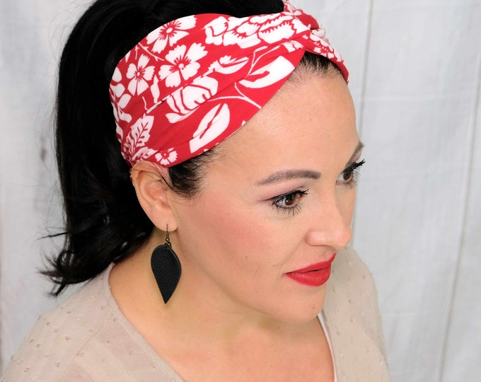 Red with White Flowers Headband / Twisted Turban / One Size Fits Most / Busy Bee Headbands