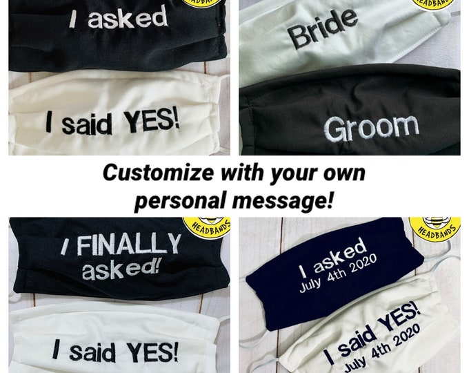 Bride and Groom Newly ENGAGED 'I asked' & 'I said Yes' Masks / Bride and Groom Gifts / Wedding Gifts / Fiancé Masks / Personalized Masks