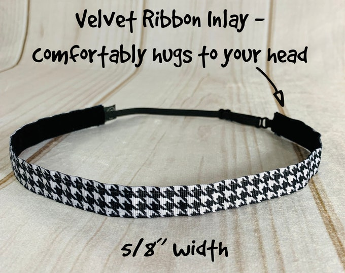 "5/8"" HOUNDSTOOTH Headband / Adjustable Nonslip Headband / Fitness Workout Running / Button Headband Option by Busy Bee Headbands"