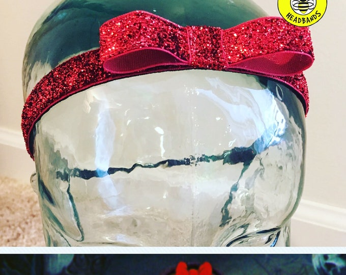 "Button Headband for Mask 5/8"" RED BOW SPARKLE Headband /  / Nonslip Adjustable Headband / Red Bow Headband / Princess Headband /"