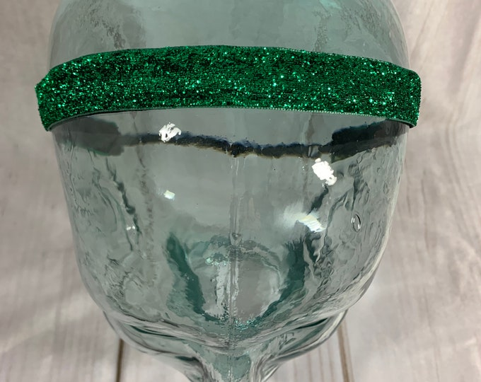 "Button Headband for Mask 5/8"" GREEN SPARKLE Headband / St. Patrick's Day /  / Adjustable Nonslip Headband / Glitter Headband /"