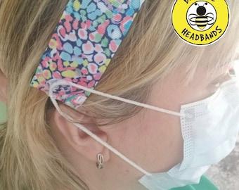 BUTTON HEADBAND for Healthcare Worker Mask / Button Headband for Mask / Adjustable Nonslip Headband Doctor Nurse Headband Busy Bee Headbands