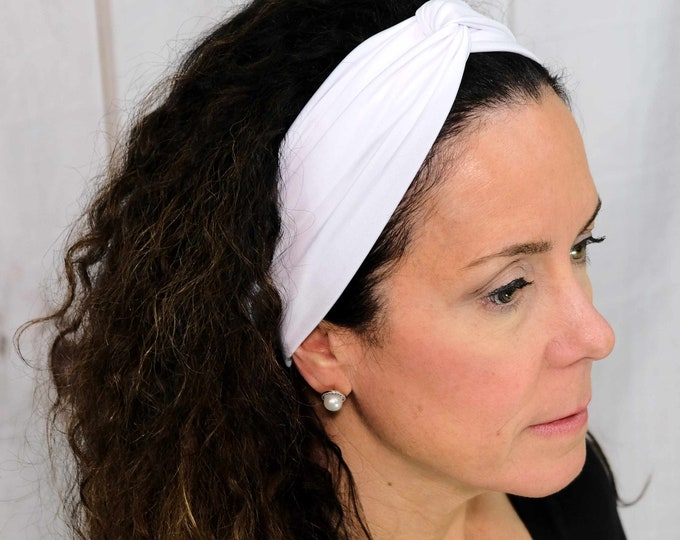White Headband / Twisted Turban / One Size Fits Most / Busy Bee Headbands