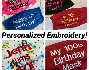 HAPPY BIRTHDAY Mask / Adult & Child SIZES / Birthday Face Mask / Gift for Birthday party / Embroidered Mask / Personalized Mask