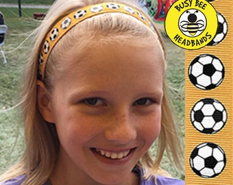 "SOCCER (YELLOW)  (7/8"" width) Adjustable Nonslip Headband / Busy Bee Headbands / Fits 2 yrs to Adult / Athletic"