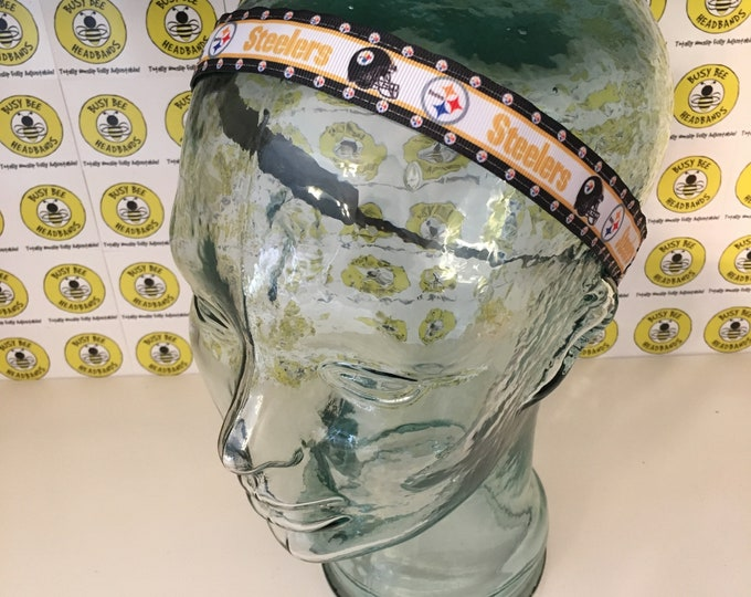 """Free Shipping! STEELERS Football (7/8"""" width) Busy Bee Headbands Adjustable Non-Slip Headband for Women and Girls Athletic"""