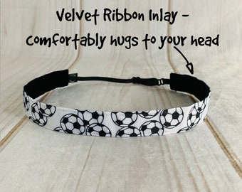 "7/8"" SOCCER Headband / Gift for Soccer Player / Soccer Player / Adjustable Nonslip Headband / Button Headband Option by Busy Bee Headbands"