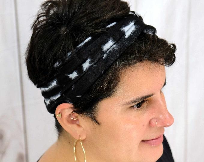 Black Grey Geometric Tie Dye Headband / Twisted Turban / One Size Fits Most / Busy Bee Headbands