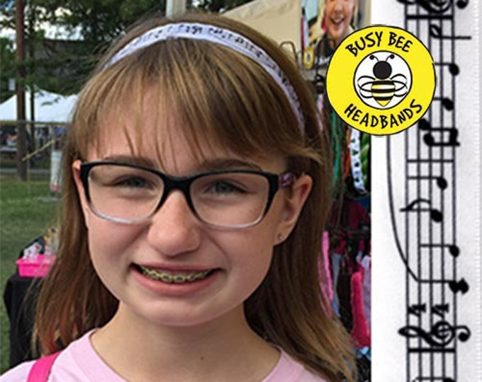 """Free Shipping! MUSIC NOTES  (7/8"""" width) Busy Bee Headbands Adjustable Non-Slip Headband for Women and Girls Athletic busybeeheadbands.com"""