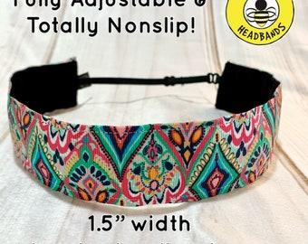 "1.5"" KALEIDOSCOPE VIBES Wide Headband / Adjustable Nonslip Headband / Button Headband Option by Busy Bee Headbands"
