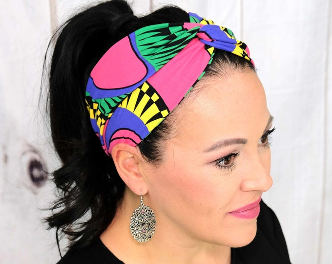 Senzo African Print Headband / Twisted Turban / One Size Fits Most / Busy Bee Headbands