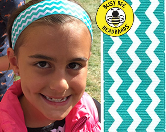"""Free Shipping! TEAL CHEVRONS  (1.5"""" width) Busy Bee Headbands Adjustable Non-Slip Headband for Women and Girls Athletic busybeeheadbands.com"""