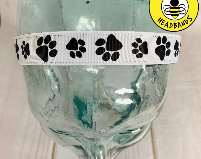 """7/8"""" PAW PRINTS Headband / Dog Cat Lover Gift for Vet / Button Headband Option by Busy Bee Headbands"""